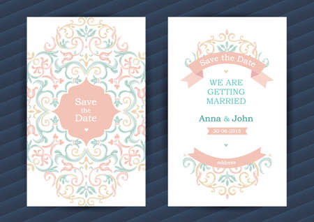 wedding decor: Vintage ornate cards in oriental style. Pastel Eastern floral decor. Template vintage frame for birthday and greeting card, wedding invitation. Ornate romantic vector border. Easy to use, layered. Illustration
