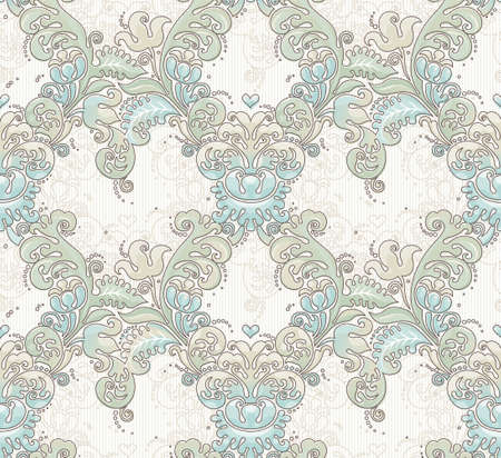 tracery: Vector seamless pattern with pastel ornament. Vintage element for design in Victorian style. Ornamental lace tracery. Ornate floral decor for wallpaper. Endless texture. Pastel pattern fill.