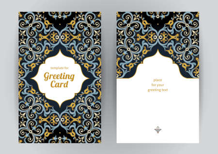 motif pattern: Vintage ornate cards in oriental style. Bright Eastern floral decor on dark backdrop. Template vintage frame for birthday and greeting card, wedding invitation. Ornate vector border. Easy to use, layered.