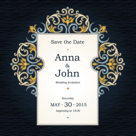 Vector decorative frame in Victorian style. Elegant element for design template, place for text. Bright floral border. Lace decor for birthday and greeting card, wedding invitation, Thank you message, save for date.