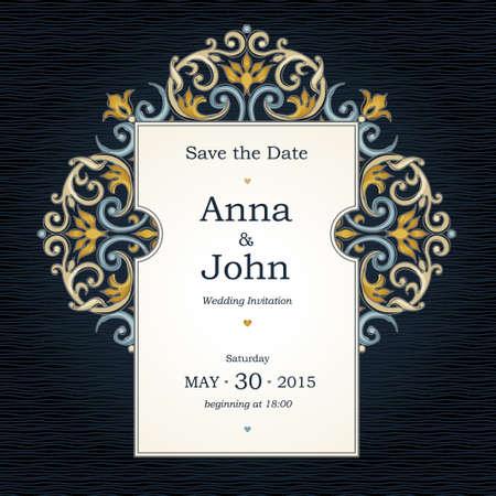 friso: Vector marco decorativo en estilo victoriano. Elemento de plantilla de diseño elegante, el lugar de texto. frontera floral brillante. decoración de encaje para el cumpleaños y una tarjeta de felicitación, invitaciones de boda, gracias mensaje, a excepción de la fecha.