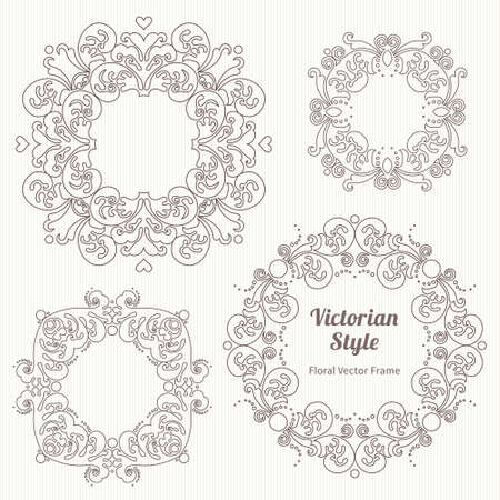 decorative design: Vector set of decorative frames in Victorian style. Elegant element for design template, place for text. Outline floral border. Line art decor for birthday and greeting card, wedding invitation, Thank you message. Illustration