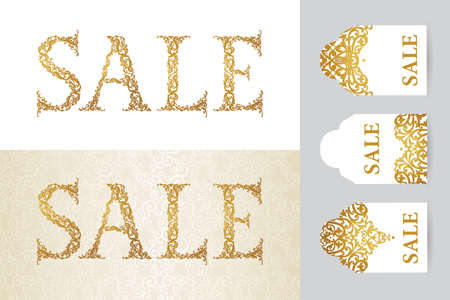 stock price: Vintage sale discount banner in Victorian style. Oriental golden floral decor. Template placard design for sale season. Easy to use, layered. Decor for time of sales. Ornate label and tag.