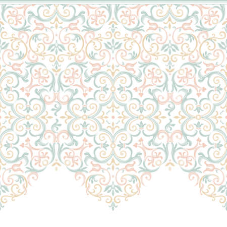 brocade: Vector ornate seamless border in Eastern style. Gorgeous element for design, place for text. Ornamental vintage pattern for wedding invitations, birthday and greeting cards. Traditional pastel decor.