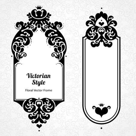 Vector Decorative Frames In Victorian Style. Elegant Element ...