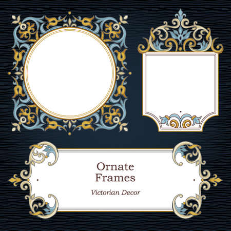 damask border: Vector set of decorative frames in Victorian style. Elegant element for design template, place for text. Floral border.Lace decor for birthday and greeting card, wedding invitation, thank you message.