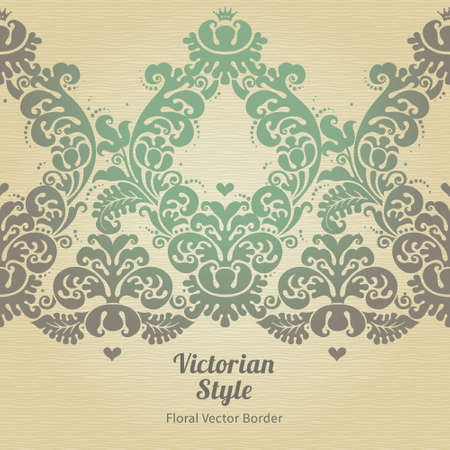 floral border: Vector ornate seamless border in Victorian style. Gorgeous element for design, place for text. Ornamental vintage pattern for wedding invitations, birthday and greeting cards.Traditional floral decor.