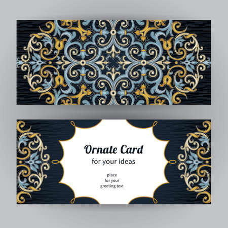 islamic pattern: Vintage ornate cards in oriental style. Bright Eastern floral decor on dark backdrop. Template frame for birthday and greeting card, wedding invitation. Vector border with place for text. Easy to use, layered.