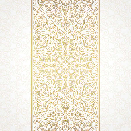 vector element: Vector ornate seamless border in Victorian style. Gorgeous element for design. Ornamental vintage pattern for wedding invitations, birthday and greeting cards. Golden frame. Traditional outline decor.