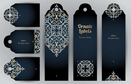 oriental: Ornate cards in oriental style. Bright Eastern floral decor on dark backdrop. Template vintage frame for greeting card and wedding invitation. Vector labels with place for your text.