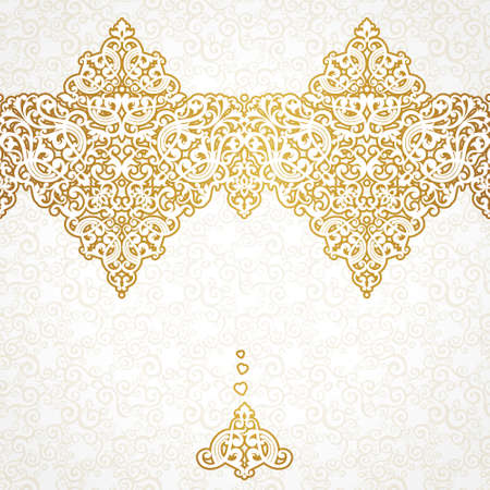 element for design: Vector ornate seamless border in Victorian style. Gorgeous element for design, place for text. Ornamental vintage pattern for wedding invitations, birthday and greeting cards.Traditional golden decor. Illustration