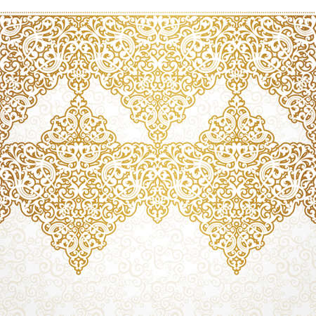 for the design: Vector ornate seamless border in Victorian style. Gorgeous element for design, place for text. Ornamental vintage pattern for wedding invitations, birthday and greeting cards.Traditional golden decor. Illustration