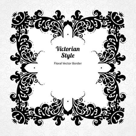 white wedding: Vector decorative frame in Victorian style. Elegant element for design template, place for text. Contrast black and white border. Floral decor for birthday and greeting card, wedding invitation, certificate.