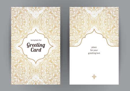 オリエンタル スタイルのヴィンテージの華やかなカード。アート東花装飾を行します。誕生日や結婚式の招待状、グリーティング カードのテンプレ  イラスト・ベクター素材
