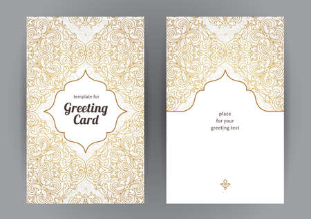 Vintage ornate cards in oriental style. Line art  Eastern floral decor. Template frame for birthday and greeting card, wedding invitation. Vector golden border with place for text. Easy to use, layered.