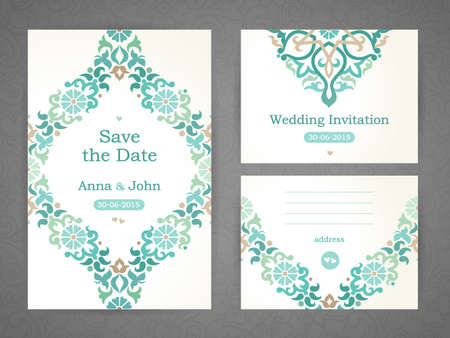Vintage ornate cards in Eastern style. Oriental green floral decor. Template frame for save the date and greeting card, wedding invitation. Vector border with place for text. Easy to use, layered.