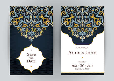 Vintage sierlijke kaarten in oosterse stijl. Bright Eastern bloemen decor op een donkere achtergrond. Malplaatjeframe voor verjaardag en wenskaart, bruiloft uitnodiging. Vector grens met plaats voor tekst. Gemakkelijk te gebruiken, gelaagde. Stockfoto - 49344719