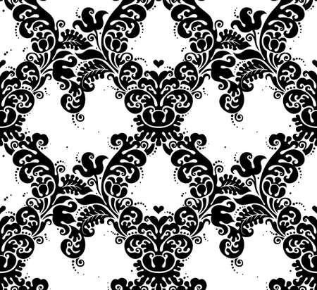 victorian pattern: Vector seamless pattern with black ornament. Vintage element for design in Victorian style. Ornamental lace tracery. Ornate floral decor for wallpaper. Endless texture. Contrast pattern fill. Illustration