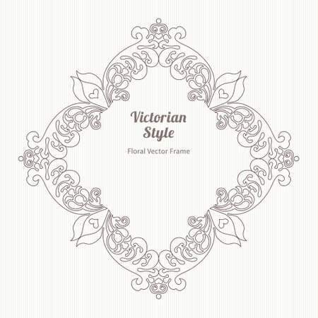 decorative line: Vector decorative frame in Victorian style. Elegant element for design template, place for text. Outline floral border. Line art decor for birthday and greeting card, wedding invitation, Thank you message.
