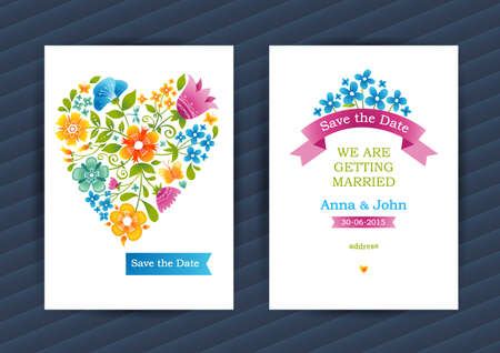 wedding decor: Bright floral cards in summer style. Colorful decor. Template background for birthday and greeting card, wedding invitation, thank you message.. Ornate vector border. Easy to use, layered.