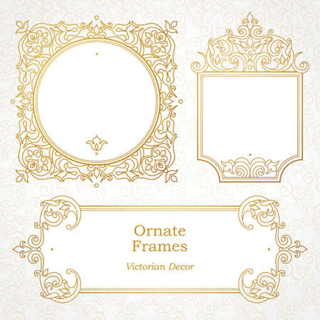 golden frame: Vector decorative frame in Victorian style. Elegant element for design template, place for text. Outline floral border. Line art golden decor for birthday and greeting card, wedding invitation, Thank you message.