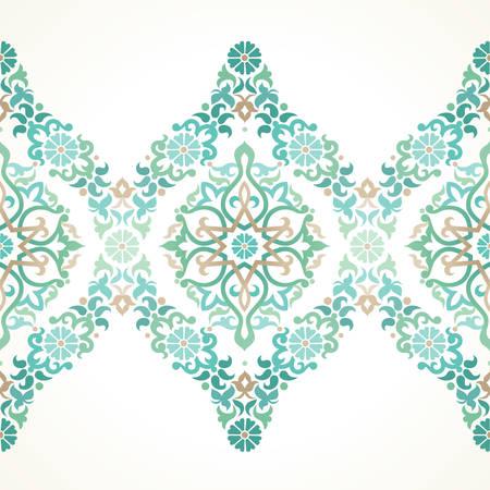 동부 스타일 벡터 화려한 원활한 테두리. 디자인을위한 꽃 요소, 텍스트에 대 한 장소. 결혼식 초대장, 생일 인사말 카드에 대 한 장식 빈티지 패턴입니 일러스트