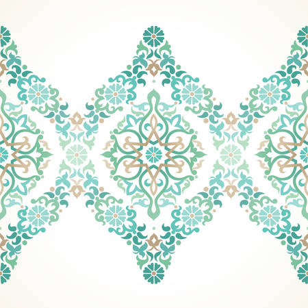 Vector ornate seamless border in Eastern style. Floral element for design, place for text. Ornamental vintage pattern for wedding invitations, birthday and greeting cards. Traditional light green decor. Illustration