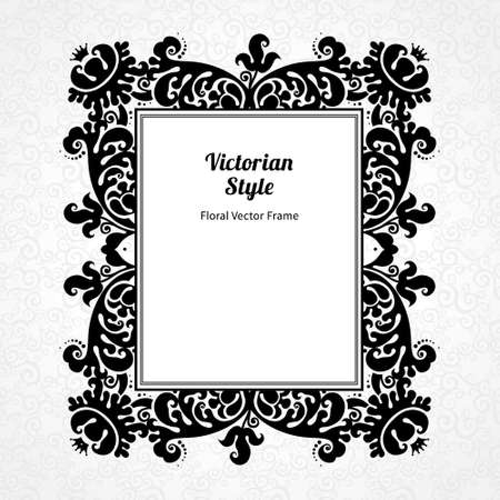 contrast floral: Vector decorative frame in Victorian style. Elegant element for design template, place for text. Contrast black and white border. Floral decor for birthday and greeting card, wedding invitation, certificate.