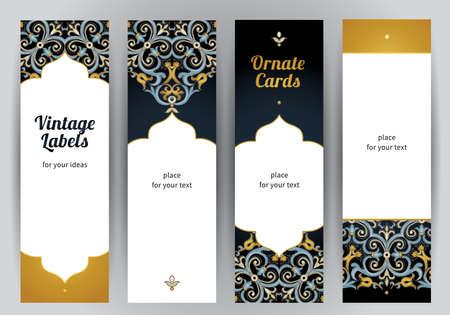 오리엔탈 스타일에 화려한 수직 카드 세트 벡터입니다. 어두운 배경에 밝은 동부 꽃 장식. 인사말 카드 및 결혼식 초대 템플릿 빈티지 프레임입니다.