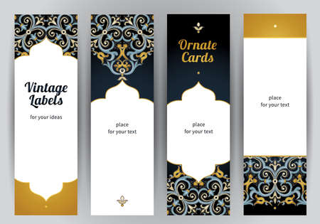 Vector set of ornate vertical cards in oriental style. Bright Eastern floral decor on dark backdrop. Template vintage frame for greeting card and wedding invitation. Labels and tags with place for text. Vettoriali