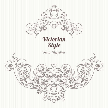 Vector floral vignette in Victorian style. Ornate element for design. Place for text. Ornament for wedding invitations, birthday and greeting cards, certificate. Lace line art decor.