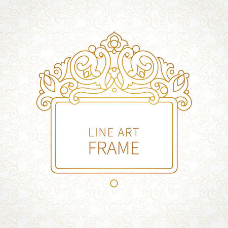 decorative line: Vector decorative line art frames for design template. Elegant element for design in Eastern style, place for text. Golden outline floral border. Lace decor for invitations, greeting cards, certificate.