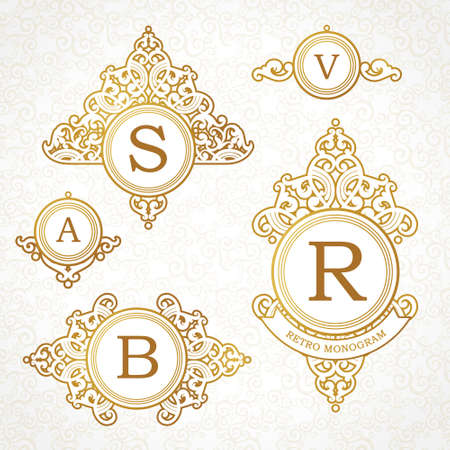 crest: Vector set of   template in Victorian style. Ornate golden element for design. Place for company name and slogan. Floral ornament for business card, wedding invitations, certificate, business sign.