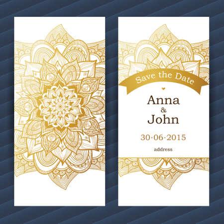 tarjetas adornadas de la vendimia. Flor dorada. Esquema de decoración floral. marco del modelo para guardar la fecha y la tarjeta de felicitación, invitación de la boda. Frontera del vector con el lugar para el texto. Fácil de usar, en capas.