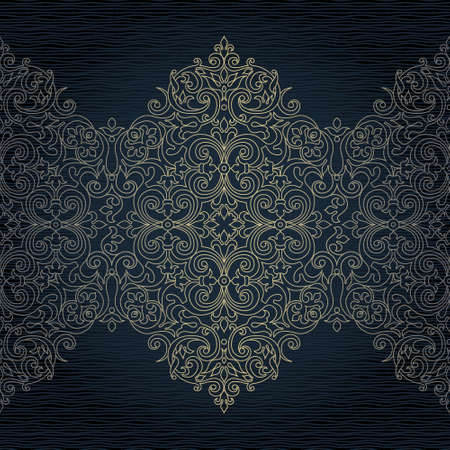 traditional pattern: Vector ornate seamless border in Eastern style. Line art element for design, place for text. Ornamental vintage frame for wedding invitations and greeting cards. Traditional outline decor. Illustration