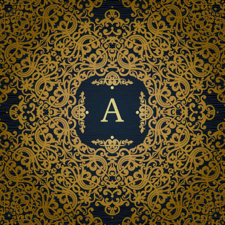 tile pattern: Vector seamless pattern with gold ornament. Vintage element for design in Victorian style. Ornamental lace tracery. Ornate floral decor for wallpaper. Endless texture. Bright pattern fill.
