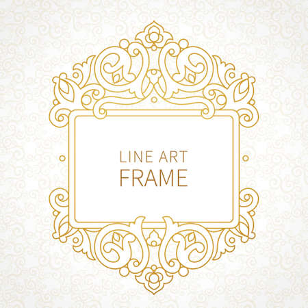 scrollwork: Vector decorative line art frames for design template. Elegant element for design in Eastern style, place for text. Golden outline floral border. Lace decor for invitations, greeting cards, certificate.