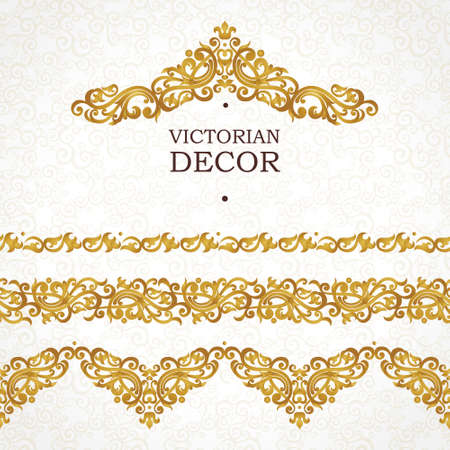 Vector ornate seamless borders in Victorian style. Gorgeous element for design, place for text. Ornamental vintage pattern for invitations, birthday and greeting cards, certificate. Traditional golden decor.