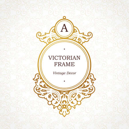 Circle vector golden frame in Victorian style. Ornate element for design. Place for company name and slogan. Ornament floral vignette for business card, wedding invitations, certificate, logo template. Vettoriali