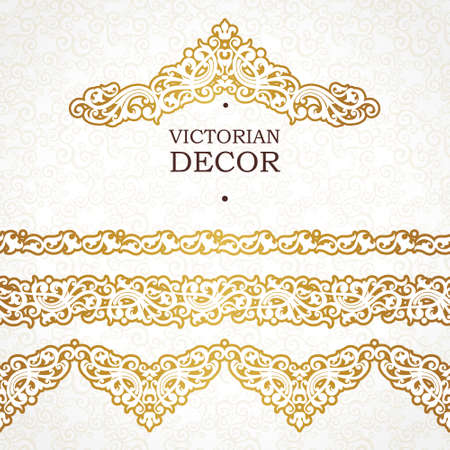 motives: Vector ornate seamless borders in Victorian style. Outline element for design, place for text. Ornamental vintage pattern for invitations, birthday and greeting cards, certificate. Traditional golden decor.