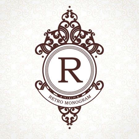 barroco: Modelo de la insignia del vector en estilo victoriano. adornado elemento para el diseño. Lugar para el nombre de la empresa y el lema. Ilustración floral ornamento de la tarjeta de negocios, invitaciones de boda, certificado, rótulo de establecimiento.
