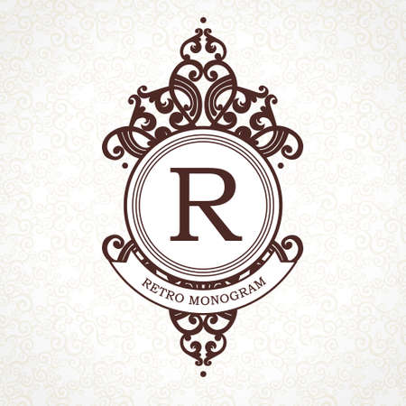 royals: Vector logo template in Victorian style. Ornate element for design. Place for company name and slogan. Ornament floral vignette for business card, wedding invitations, certificate, business sign. Illustration