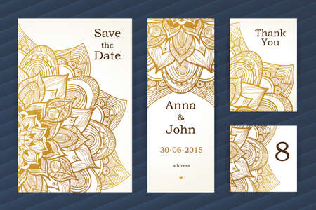 nameplate: Golden vintage ornate cards. Outline floral decor. Template frame for save the date and greeting card, wedding invitation. Vector line art border with place for text. Easy to use, layered.