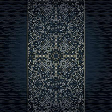 Vector sierlijke naadloze grens in Oost-stijl. Gouden lijn kunst element voor ontwerp, plaats voor tekst. Sier vintage frame. Elegante kant maaswerk. Traditionele schets decor.