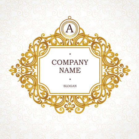 Vector golden frame in Victorian style. Ornate element for design. Place for company name and slogan. Ornament floral vignette for business card, wedding invitations, certificate,   template, monogram. Vettoriali