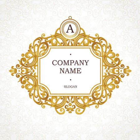 Vector gouden frame in Victoriaanse stijl. Overladen element voor ontwerp. Plaats voor de naam en slogan bedrijf. Ornament bloemen vignet voor visitekaartjes, trouwkaarten, certificaat, sjabloon, monogram. Stockfoto - 51133809