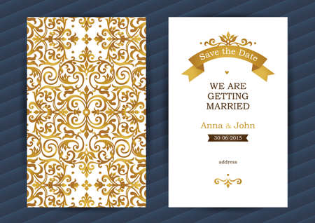 ornate frame: Vintage ornate cards in oriental style. Golden Eastern floral decor. Template vintage frame for birthday and greeting card, wedding invitation. Ornate romantic vector border. Easy to use, layered.