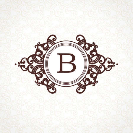 scroll tracery: Vector   template in Victorian style. Ornate element for design. Place for company name and slogan. Ornament floral vignette for business card, wedding invitations, certificate, business sign. Illustration