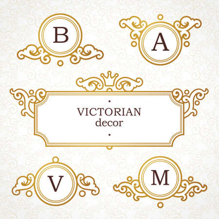 name: Vector set of   template in Victorian style. Ornate golden element for design. Place for company name and slogan. Floral ornament for business card, wedding invitations, certificate, business sign, monogram.