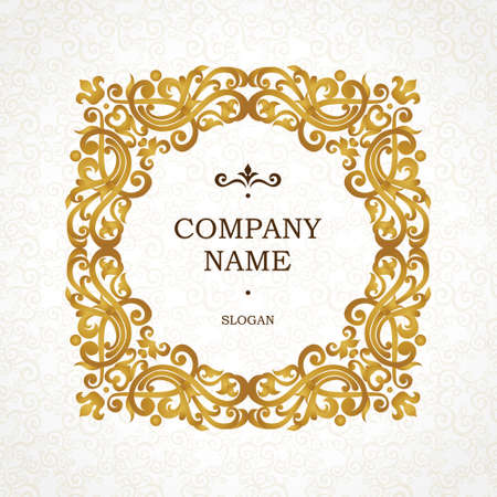 Vector golden frame in Victorian style. Ornate element for design. Place for company name and slogan. Ornament floral vignette for business card, wedding invitations, certificate,   template.